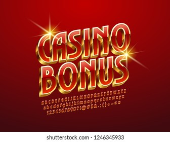 Vector luxury Logo Casino Bonus. Rotated exclusive Alphabet Letters, Numbers and Symbols. Red and Golden 3D Font.