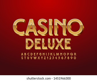 Vector luxury logo Casino Deluxe with 3D Golden Font. Premium Uppercase Alphabet. Elegant pattern Letters and Numbers