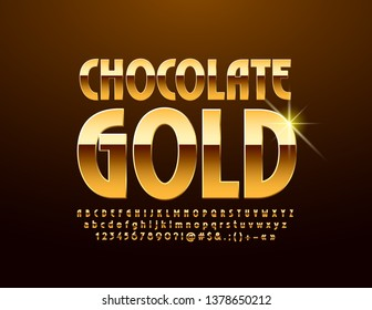 Vector luxury logo Chocolate Gold with Font. Chic glossy Alphabet Letters, Numbers and Symbols