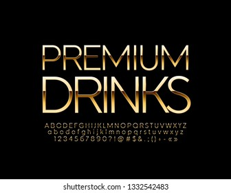 Vector luxury logo with text Premium Drinks. Royal Golden set of Alphabet Letters, Numbers and Symbols. Elegant thin Font.