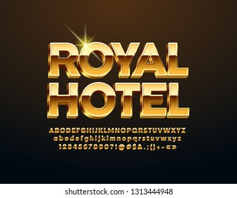 Vector luxury logotype Royal Hotel with 3D Golden Font. Chic Alphabet Letters, Numbers and Symbols for Business, Marketing, Advertisement