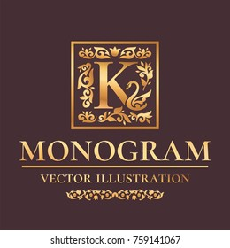 "Vector Luxury Monogram ""K"" Logo Design Template. Vintage Royal Golden Ornament Frame Label For Fashion Boutiques, Alcohol Brands, Hotels, Wedding Invitations, Banners, Packaging"