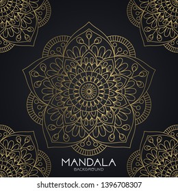 Vector luxury ornamental mandala design background in gold color. Invitation template with floral mandala ornament - Vector illustration