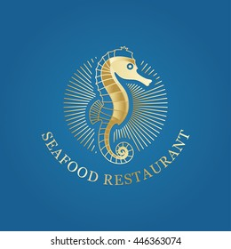 Vector luxury rich logotype. Illustration of golden seahorse with sun rays around it at blue gradient background. Great logo for sea restaurant, jewelry, cosmetics