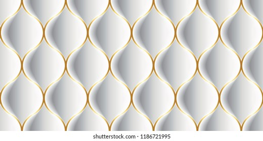 Vector Luxury Seamless Pattern. 3D Effect Bulging Shape. Droplet Shape with Thin Gold Stroke