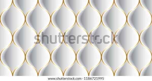 Luxury Seamless Pattern 3D Effect Bulging Shape for house walls