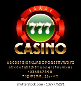 Vector luxury shiny Casino Emblem with Red Ribbon. Set of royal Golden Alphabet Letters, Numbers and Symbols