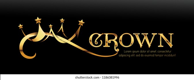 Vector Luxury Sign Gold Crown. Chic Gradient Font. Exclusive princess typo with golden crown on black background.