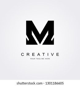 Vector M letter logo with bold shapes and luxury icon.