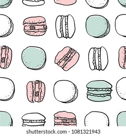Vector macarons stylish seamless pattern. Romantic yummy macarons vector pattern isolated on white. Macarons vector. Vector macaron illustration. Flat lay food