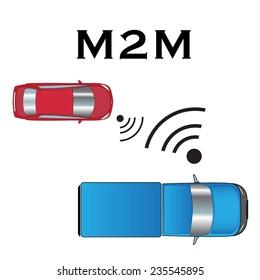 Vector Machine to Machine (M2M) illustration