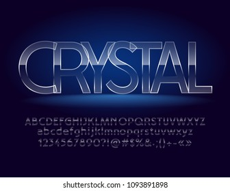 Vector Magic Crystal Transparent Font. Glass Style Alphabet Set. Cold Iced Letters, Numbers and Symbols