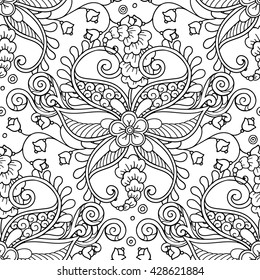Vector magic fairy forest garden seamless pattern background in doodle style.Flowers, seedpods,  leaves, ornamental design elements. Black and white background. Zentangle coloring book page