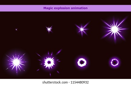 Vector magic flash animation frames for game or cartoon effect in video, presentation, poster, banner, ads. Vector illustration