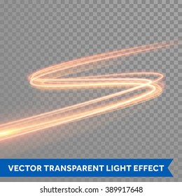 Vector magic glowing light swirl trail trace effect on transparent background. Bokeh glitter fire spark spiral wave line with flying sparkling flash lights.