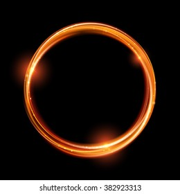 Vector magic gold circle. Glowing fire ring trace. Glitter sparkle swirl trail effect on black  background. Bokeh glitter round ellipse line with flying sparkling flash lights.