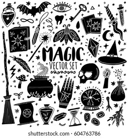 Vector magic icons. Hand drawn, doodle, sketch magician set. Witchcraft symbols