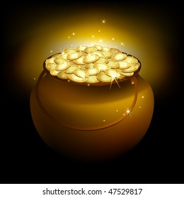 Vector magic pot with gold
