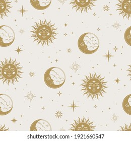 Vector magic seamless pattern with gold sun, moon and stars. Mystical esoteric background for design of fabric, packaging, astrology, phone case, yoga mat, notebook covers, wrapping paper.