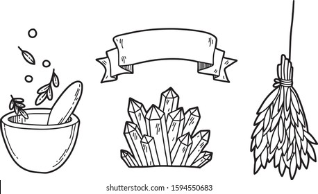 Vector magic set. Witches symbols: dry herbs, mortar and pestle, crystals, ribbon. Hand drawn illustration, flat and cartoon style. For stickers, cards, tattoo, print design, badges.