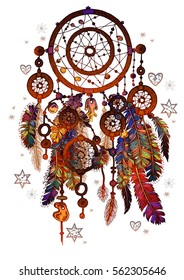 Vector magic symbol Dreamcatcher with gemstones and feathers.