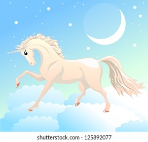 Vector magic unicorn. Little fantasy white horse with white hair and horn in the sky with moon and stars. Cute character. Child illustration. Print for t-shirts and bags