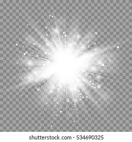 Vector magic white rays glow light effect isolated on transparent background. Christmas design element. Star burst with sparkles.