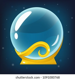 Vector magical blue crystall ball on golden stand. Isolated in blue background. Perfect for games or other design works