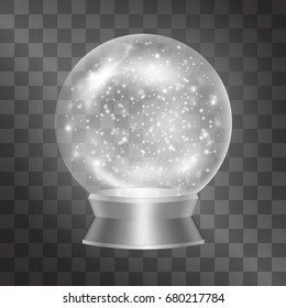 Vector magical crystal sphere, glass winter globe full of sparkles and snowflakes for winter, Christmas mood. Glowing ball, classic present, gift to keep memories. Glossy mystical prediction artefact.