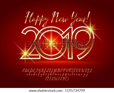 vector magical happy new year 2019 greeting card with alphabet set of letters symbols and