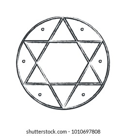 Vector magical symbol: Hexagram, Seal of Solomon. The signet ring attributed to King Solomon in medieval Jewish, Islamic and Western occultism and Kabbalah.