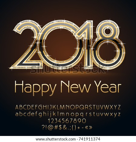 vector magicalhappy new year 2018 greeting card silver alphabet with sparkling stars set