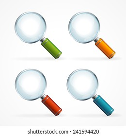 Vector magnifying glass icon set isolated on white