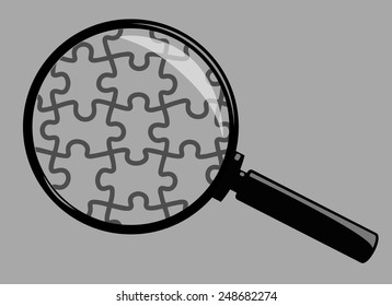 Vector Magnifying Glass Isolated on Grey Background