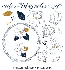 Vector Magnolia set. Hand drawn botanical elements in line art style. Magnolia flowers,leaves, buds and wreath isolated on white background.