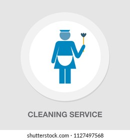 vector maid icon - cleaning service illustration, housekeeping girl.