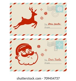 Vector mail to Santa. Cards with deer, snowflakes and stamps.