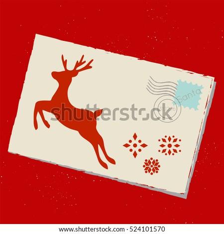vector mail santa envelope deer snowflakes stock vector royalty