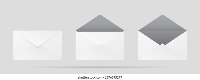 Vector mail three envelopes open, closed, front, end view on white background - Shutterstock ID 1576395277