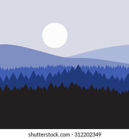 vector majestic concept forest mountains background