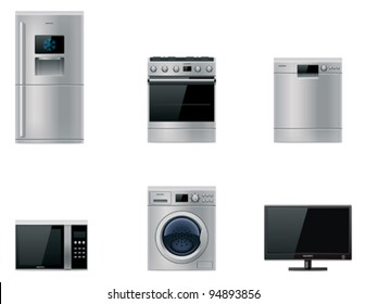 Vector major domestic appliances and electronics icon set. Fridge, oven, dishwasher, microwave, washing machine, tv