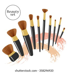Vector make up illustration. Beauty product set. Eyeliner, blush, powder, eyeshadows brushes. Face sculpting, makeup artist background with grungy stains.