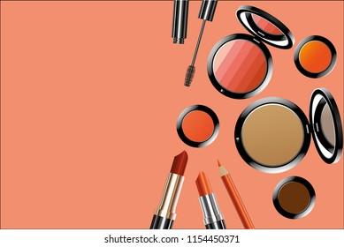 vector make up tool on white background.brush.shading.eye shadow.eyebrow
