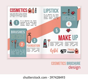 Vector Makeup brochure background. Glamorous makeup brochure with nail polish and lipstick. Creative brochure design for card, web design background, book cover.