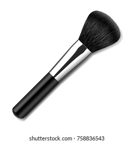 Vector makeup brush applicator. Black hair powder and blush brush top view isolated on white background.