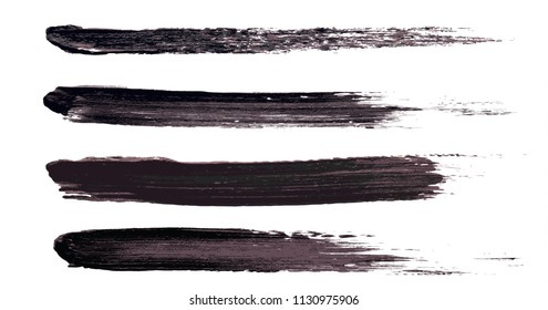 Vector make-up cosmetic mascara brush stroke texture design isolated on white. Realistic mascara smear set template. Mascara eyelashes brush stroke makeup. Black hand drawn lash scribble swatch.
