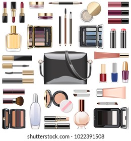 Vector Makeup Cosmetics with Black Handbag isolated on white background