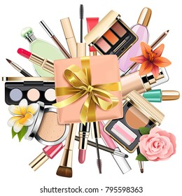 Vector Makeup Cosmetics with Gift isolated on white background