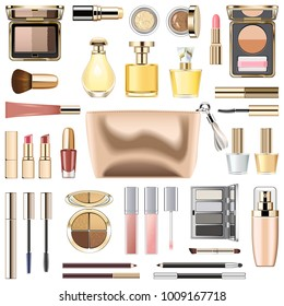 Vector Makeup Cosmetics with Golden Cosmetic Bag isolated on white background