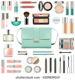 Vector Makeup Cosmetics with Mint Green Handbag isolated on white background